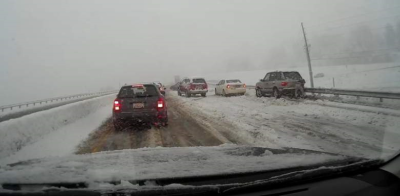 I-25 was a mess, as the picture from CBS news shows.....